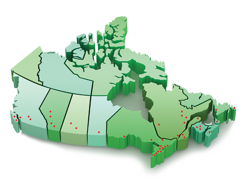 Canadian service map